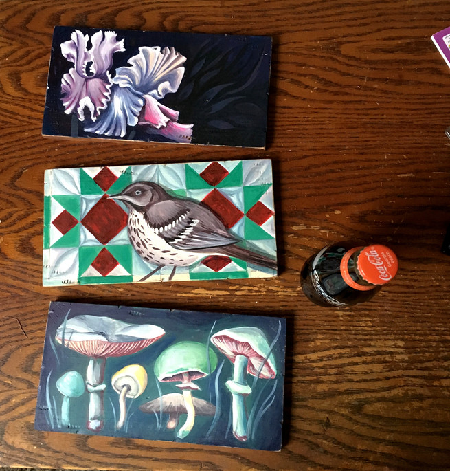 painted nature panels with peach coke