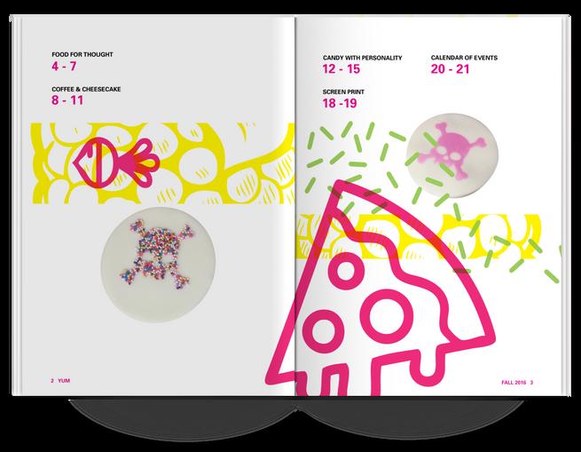YUM Magazine Table of Contents Spread Design