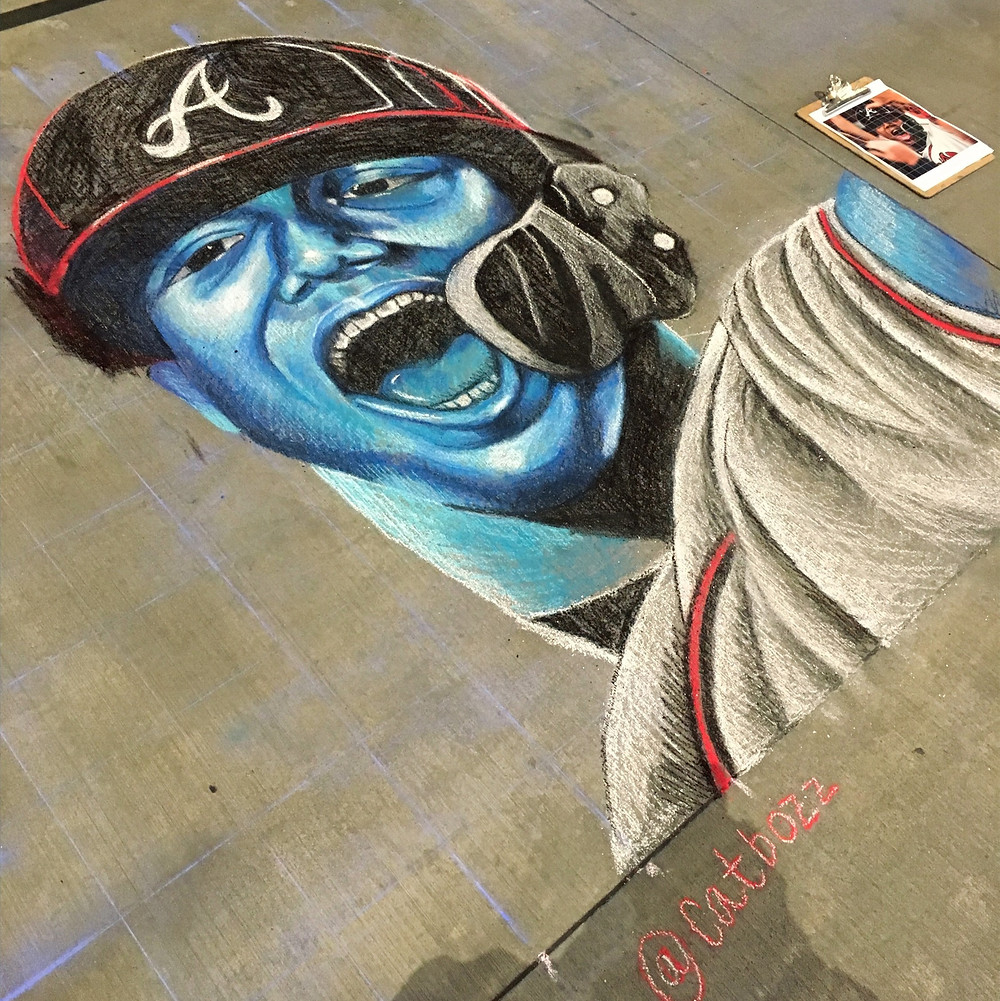 work in progress of Ronald Acuña Jr. chalk mural portrait