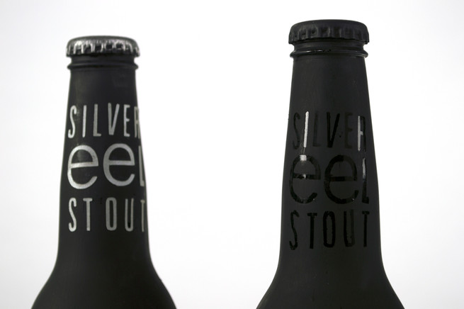 detail of silver eel stout product design and typography