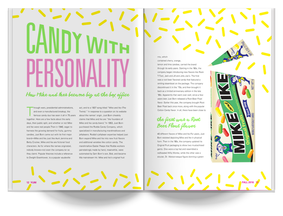 YUM Magazine Mike and Ike Article Spread Design