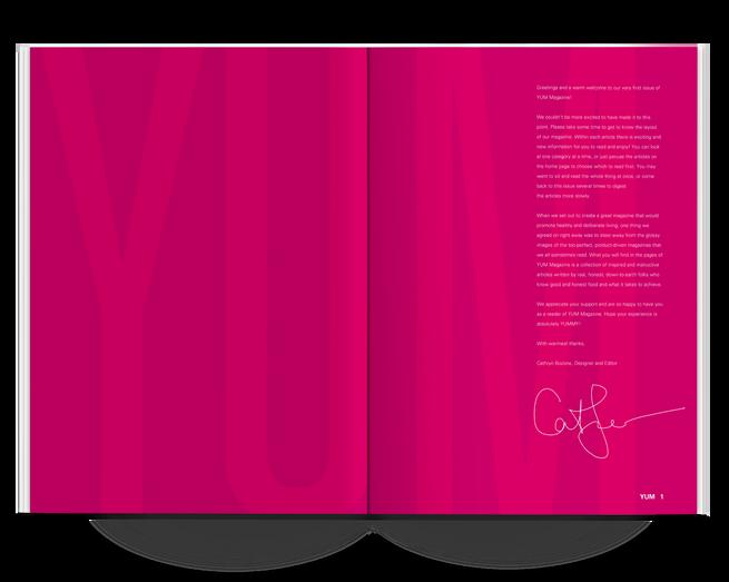 YUM Magazine Letter to the Editor Spread Design