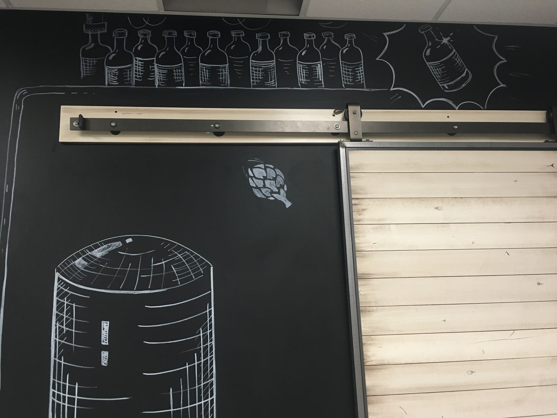 end of beer brew process chakboard wall mural by cathryn bozone for anheuserbusch
