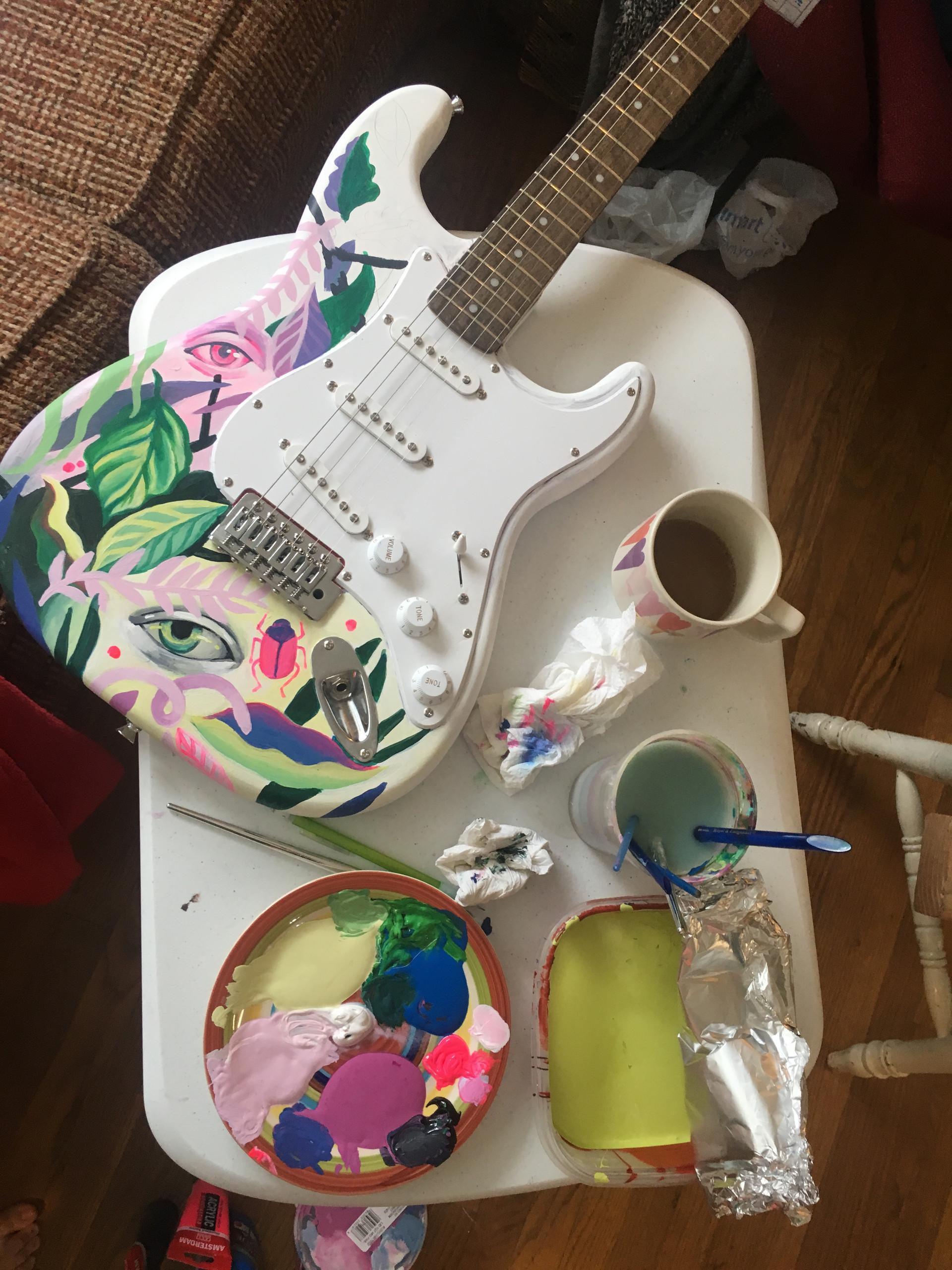 cathryn bozone painting atlanta united guitar