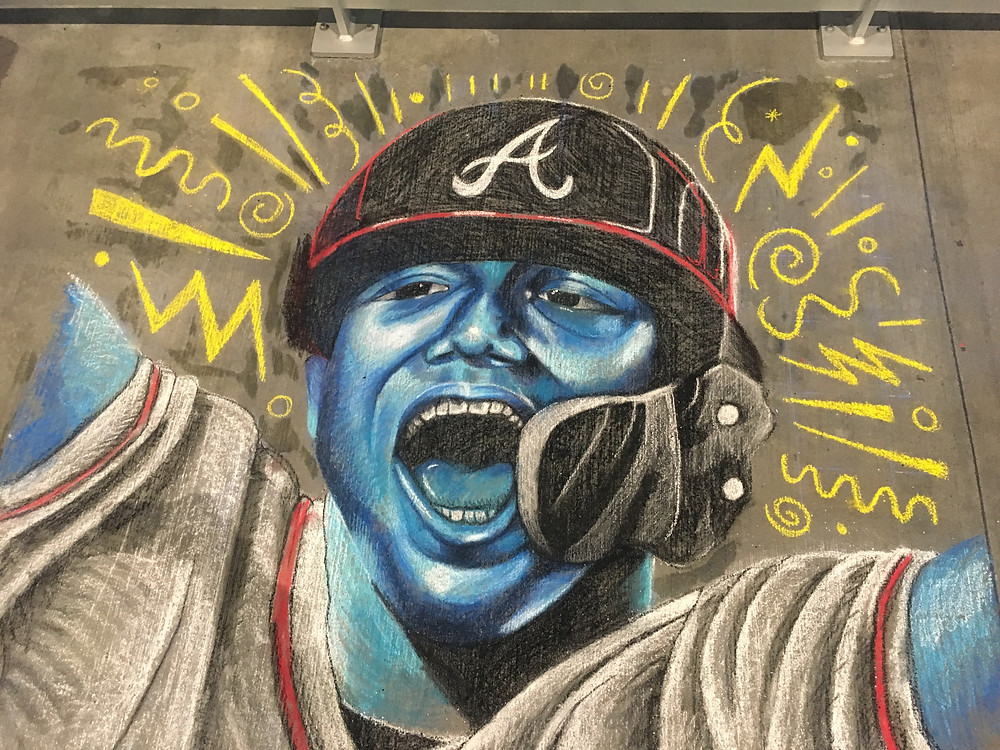 Finished Ronald Acuña Jr. Chalk Mural Portrait with blue and yellow