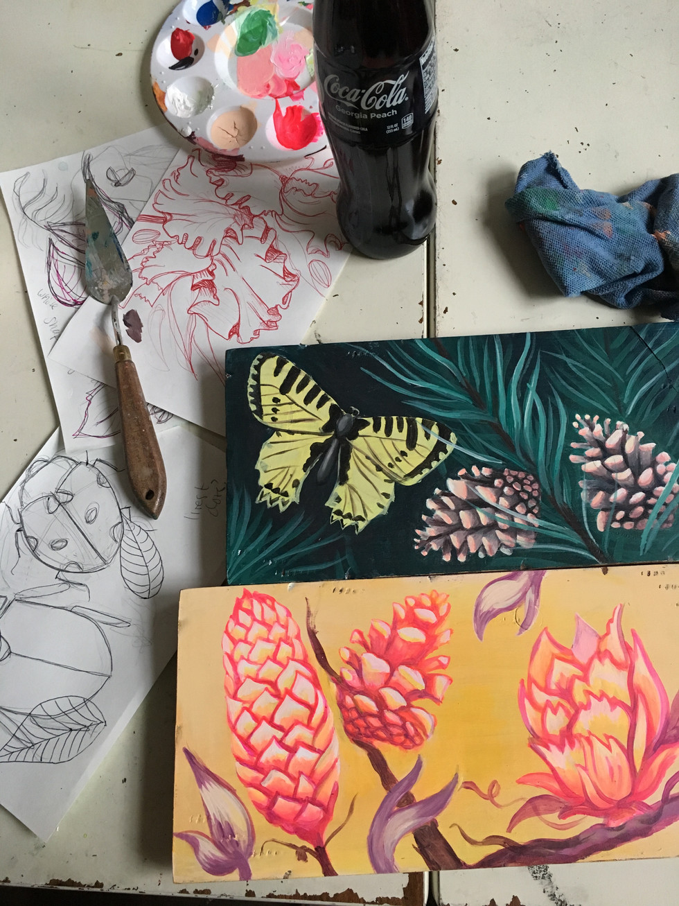 butterfly and pinecone painting