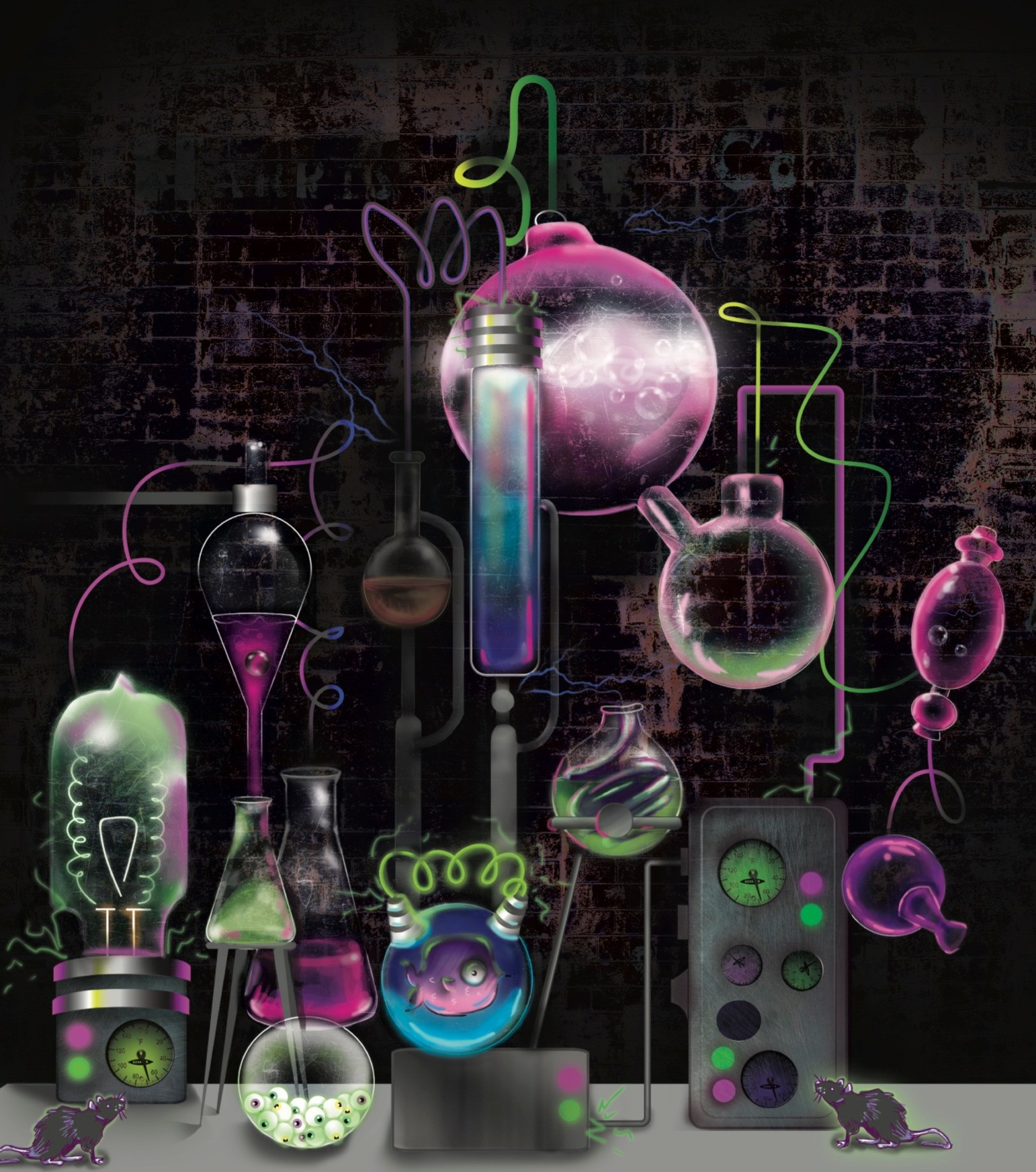 Mad Scientist Digital Art Concept For Halloween