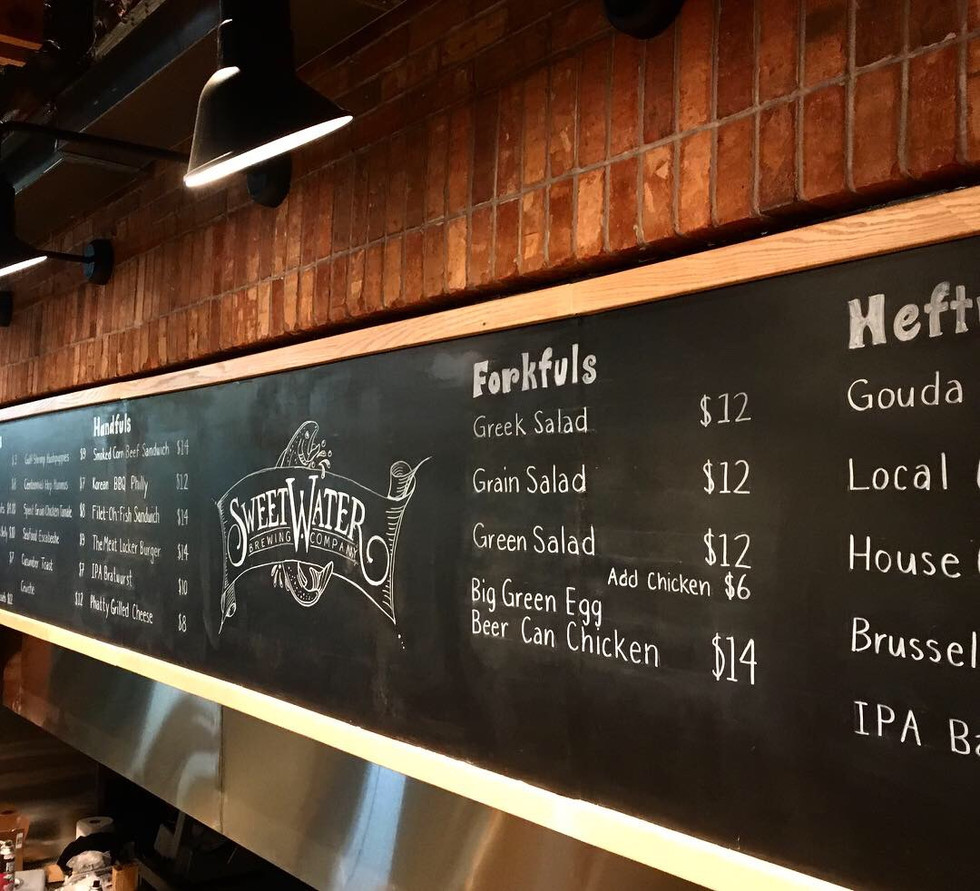 Sweetwater brewing company taproom chalkboard by cathryn bozone
