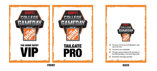 College Game Day Home Depot VIP Pass Design