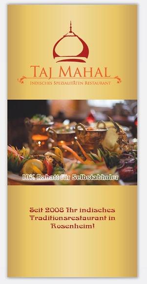 """Werbeflyer mit Speisekarte für Indisches Resaurant """"Taj Mahal"""" in Rosenheim"""