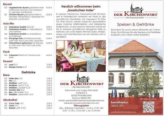 Flyer mit 6 Seiten, mit Speisekarte Kirchenwirt, Peterskirchen.