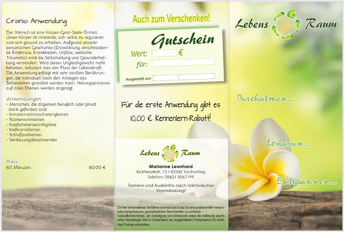 Firmenflyer 6-seitig für Marianne Leonhard, Fa. Lebens Raum in Tacherting