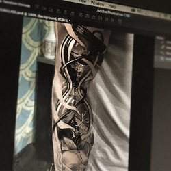 Sneak peak at today's arm piece.  #digitalsketch done on the #Wacom. Looking forward to this today.