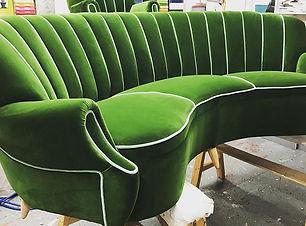 Green Velvet 3 Seater Sofa