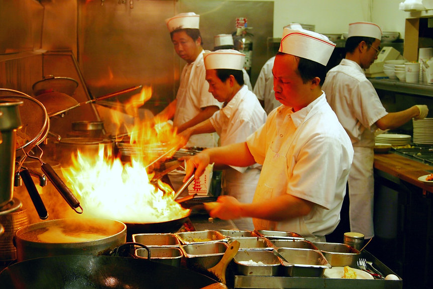 Chef in Chinese Restaurant Kitchen