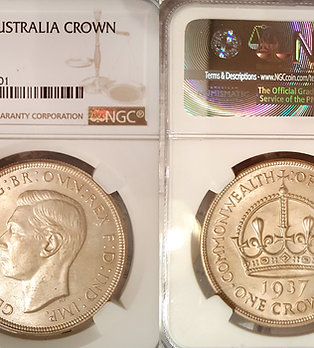 Australia 1937 Crown, Rare NGC 64