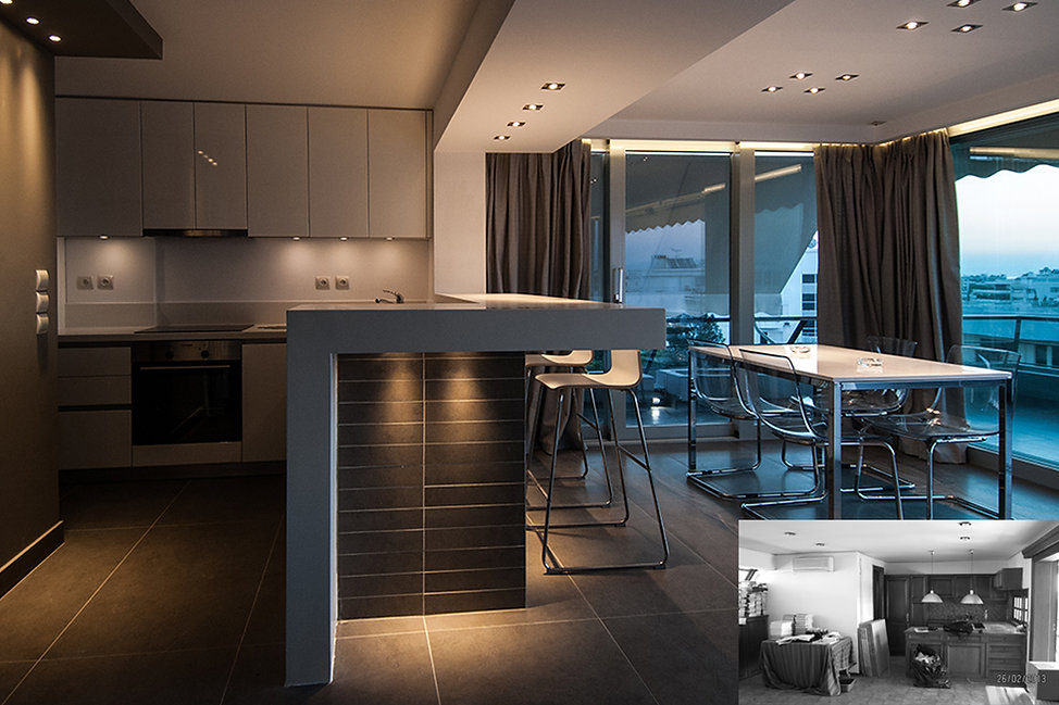 Modern penthouse before and after showing kitchen and dining space