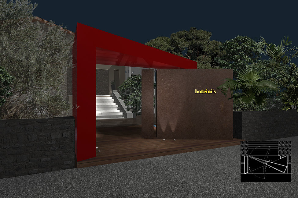 Architectural design of botrini's restaurant main entrance pivot door