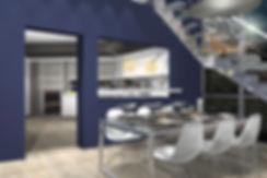 Εσωτερικο προοπτικο τραπεζαριας με ανοικτη κουζινα