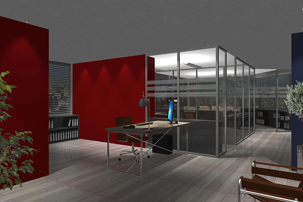 3D render of an office space design