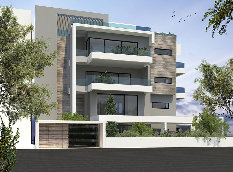 Αρχιτεκτονικη προταση για τριωροφη πολυκατοικια στη Γλυφαδα