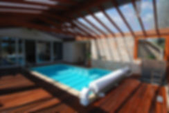 Internal pool with exposed timber roof structure