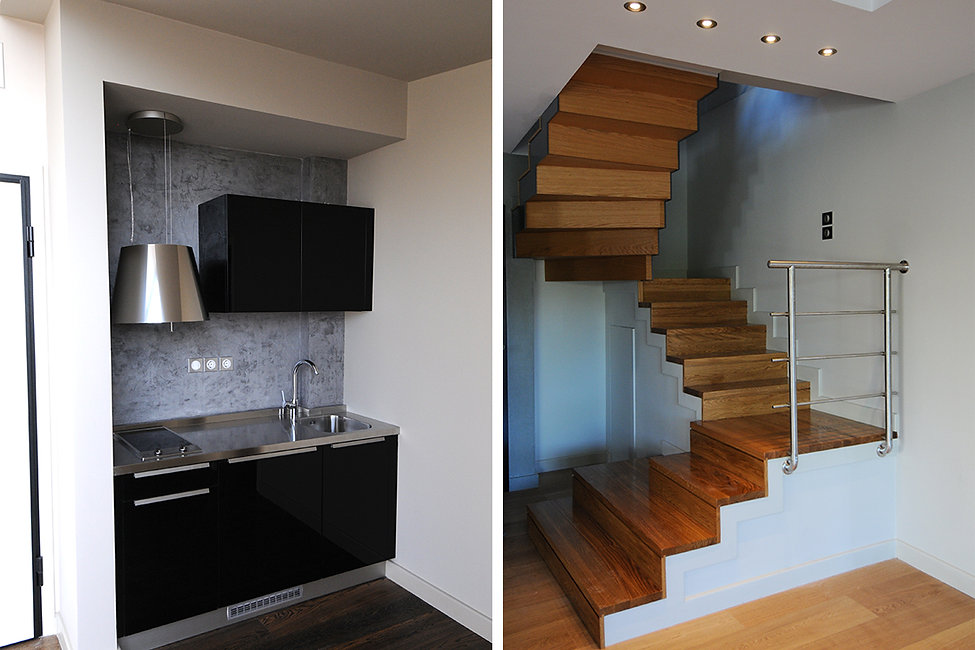 Stair and kitchenette details
