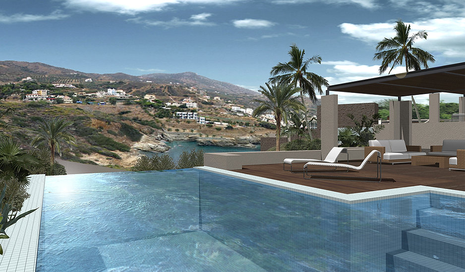 Lovely villa with infinity pool overlooking the island