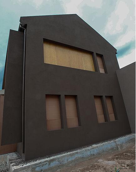 Unfinished facade frame