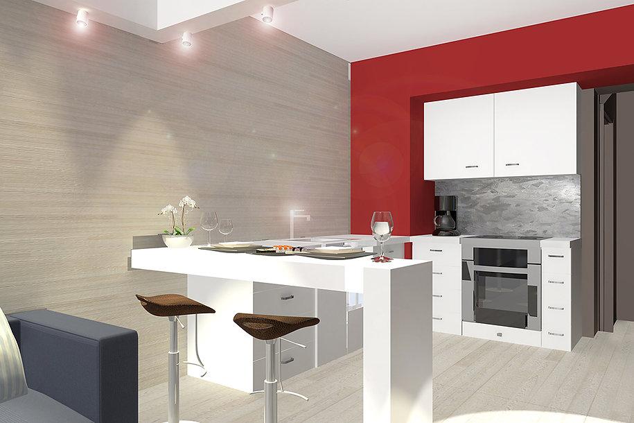 Open plan kitchen render