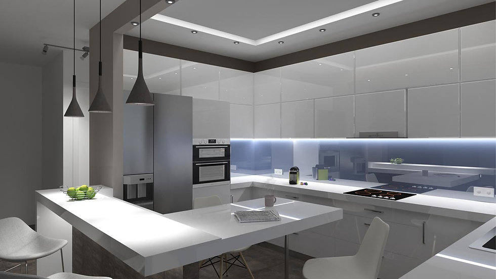 3D render proposal of a kitchen.