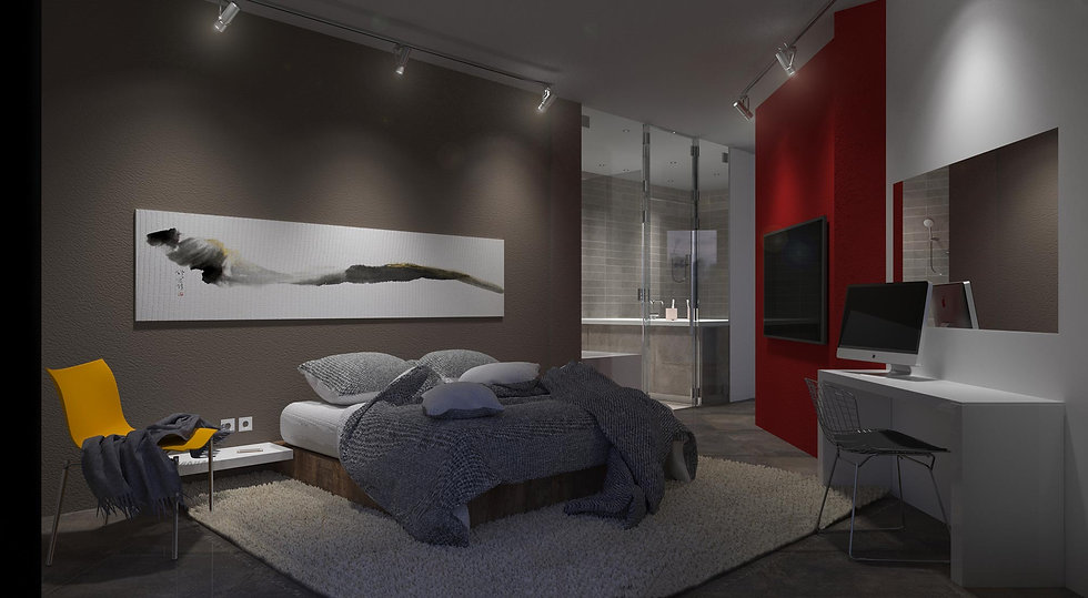 Interior bedroom render of a house remodelling proposal.