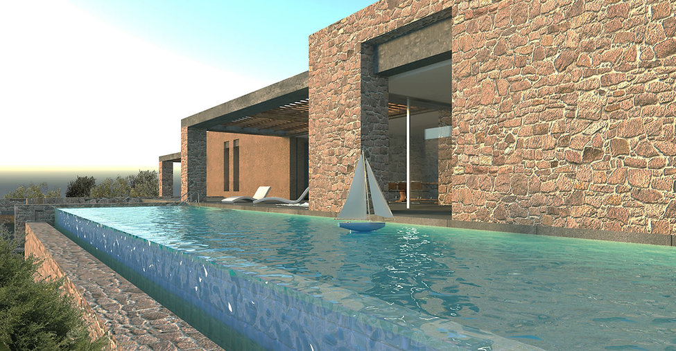 Infinity pool and stone house design