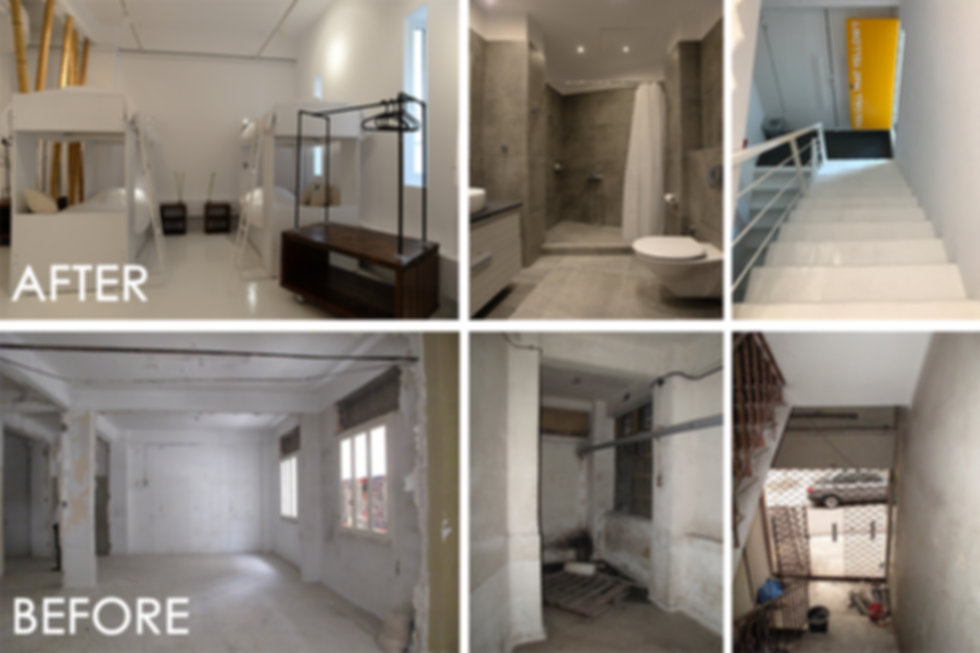 Before and after images of an airbnb conversion
