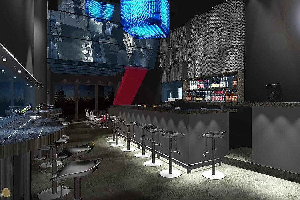LED bar design Glyfada with neon lights