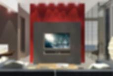 Living room with red sliding door separators