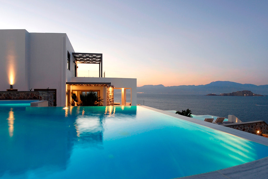 Relaxing pool overlooking the Aegean