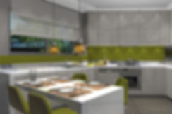 Funky kitchen with green elements
