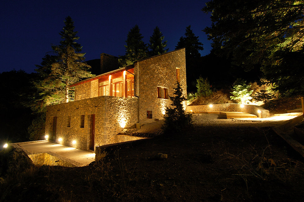 Nightshot of a winter retreat in Mountain Parnassos