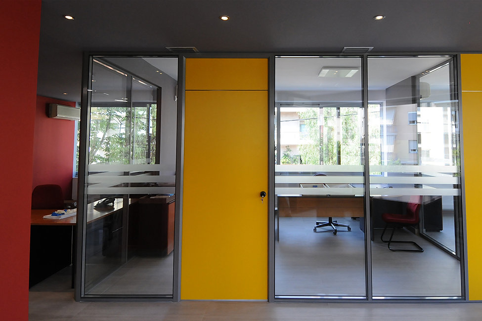 Modern and colourful office building design with yellow door