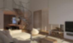 Interior render of an apartment's living room with an open plan