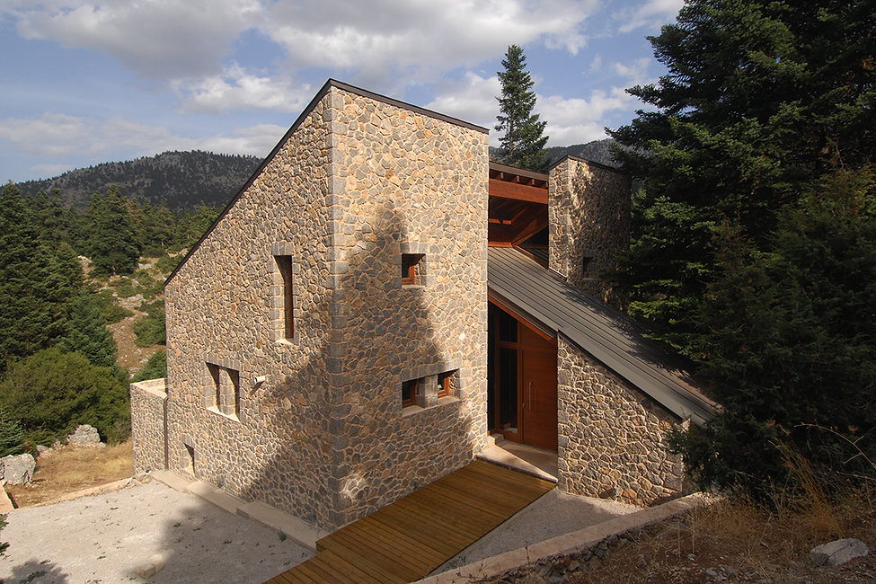 A stone built country house in Mountain Parnassos in Greece