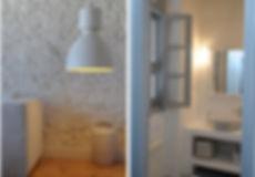 Modern design details of living room and bathroom