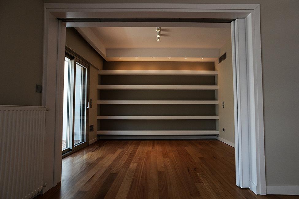 Built in shelves in the renovated bedroom