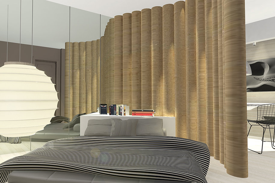 Bedroom remodelling with bamboo trees and striped linens