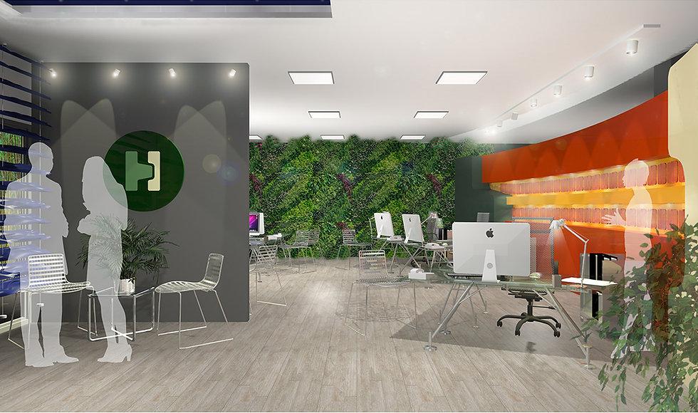 Ανασχεδιασμος γραφειο στη Γλυφαδα με εσωτεικο πρασινο τοιχο