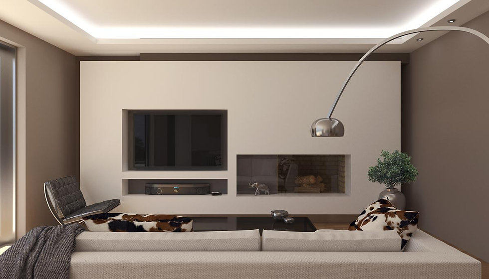 Fireplace and TV set design for a private residence in Alimos using Vray.