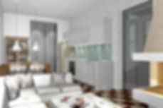 3D render of the interior of an open plan home