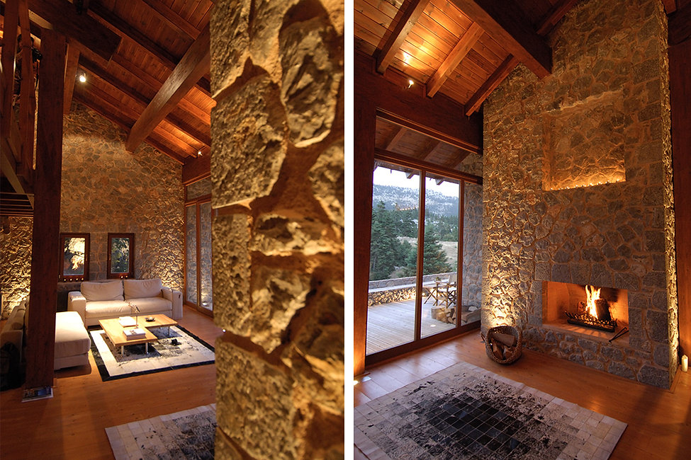 Interior photographs of a fireplace in a winter home with stone details