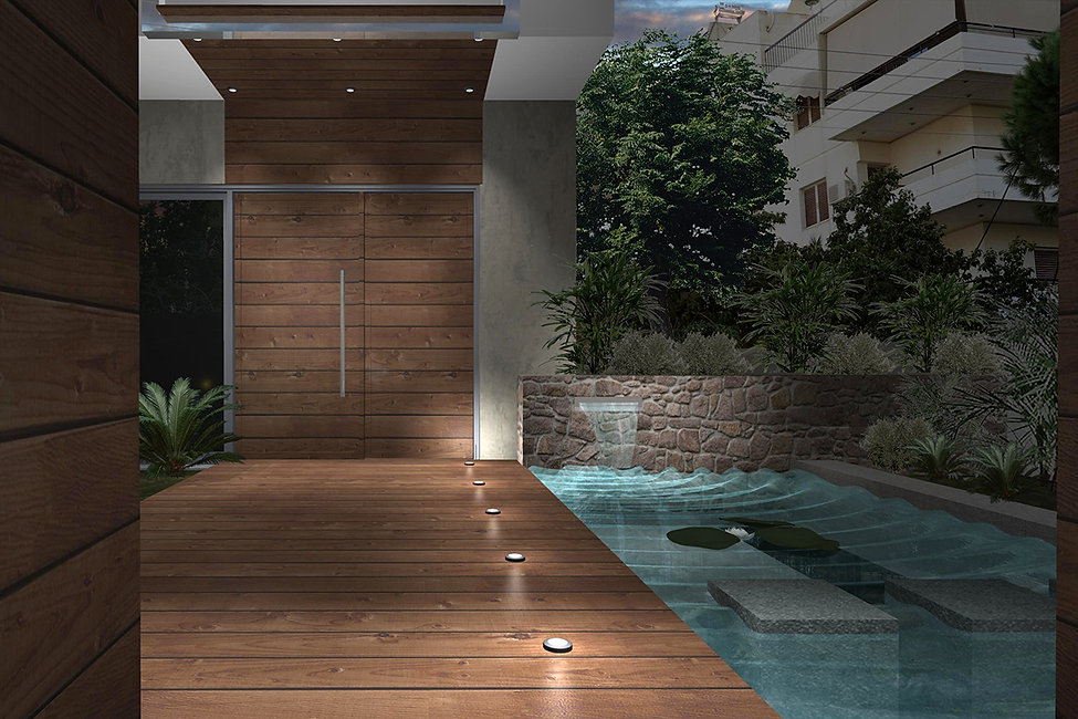 3D render with small pond by the main entrance